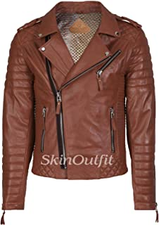 SKINOUTFIT Men's Leather Jackets Motorcycle Biker Genuine Lambskin Leather Jacket Tan