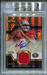 2011 Topps Triple Threads Colin Kaepernick RC Relic AUTO Autograph #55/75 San Francisco 49ers Football Trading Card BGS 9 Sepia Unity Relics