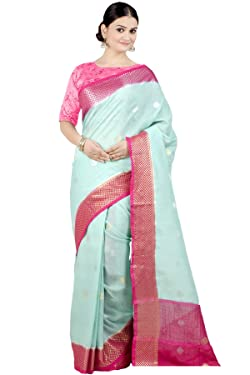 Chandrakala Women's Pure Linen Indian Ethnic Banarasi Saree with unstitched Blousepiece(1350)