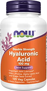 NOW Supplements, Hyaluronic Acid, Double Strength 100 mg, with L-Proline, Alpha Lipoic Acid and Grape Seed Extract, 120 Ve...