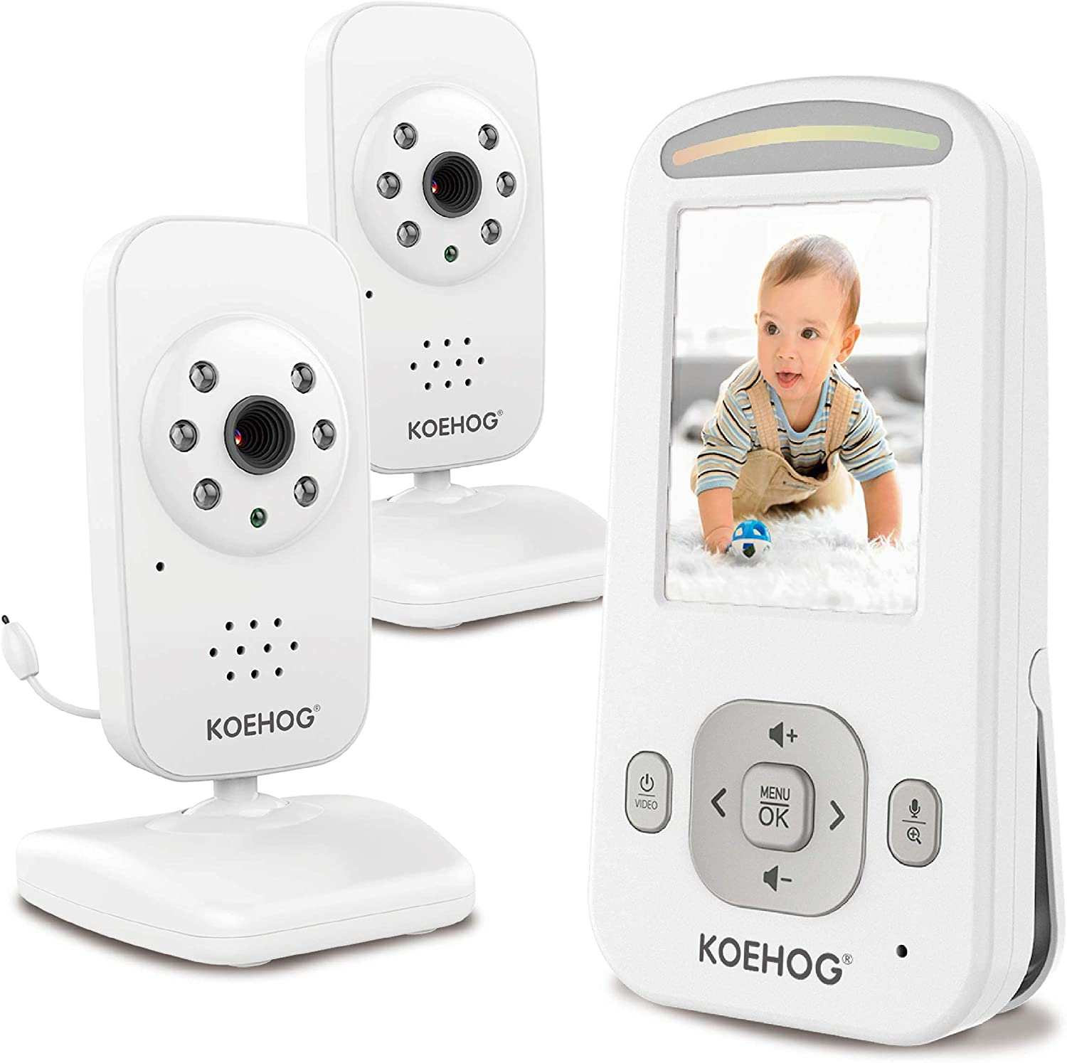 Video Baby Monitor w/ 2 Digital Cameras 1,000ft Range Long Life Battery 2-Way Talk Temperature Display Day/Night Vision 2.4GHz Secured Privacy by AXVUE