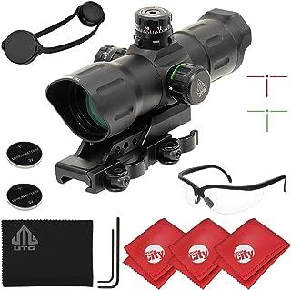 UTG 6-Inch 1x39 ITA Red/Green CQB T-Dot Rifle Sight w/Offset QD Mount + Microfibers + Shooting Glasses (SCP-TDTDQ)
