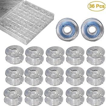 Maxure 36 piezas de plástico transparente máquina de coser bobinas con estuche para Brother: Amazon.es: Hogar