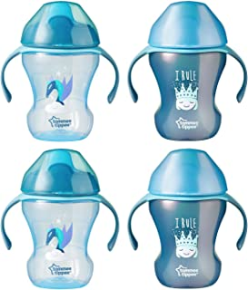 Tommee Tippee Infant Trainer Transition Sippee Cup, 7+ Months, Boy - 8 Oz, 4Count
