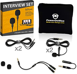 2 Lavalier Lapel Microphones Set for Dual Interview - Dual Lavalier Microphone - Lavalier Microphone Set - Perfect as Blog...