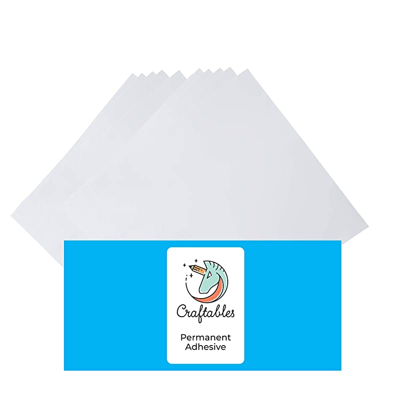 Craftables White Vinyl Sheets - Permanent, Adhesive, Glossy & Waterproof   (10) 12