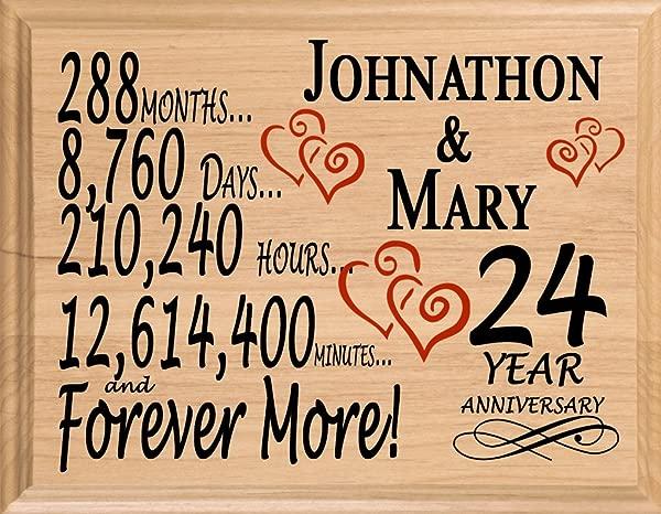 布罗德湾 24 年个性化 24 周年结婚礼物送给妻子丈夫夫妇