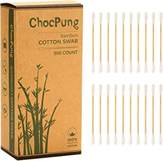 ChocPung Biodegradable Eco Friendly Organic Natural Bamboo Handle Cotton Swab, 500CT