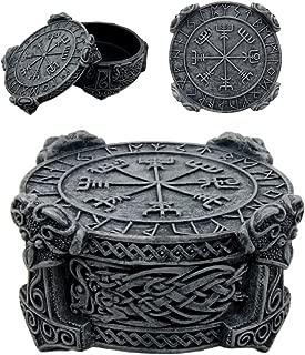 Ebros Norse Mythology Thor Mjolnir Hammer Vegviser Magical Talisman Compass Jewelry Trinket Box Figurine 5