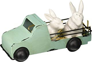 Mud Pie 40250012 Vintage Inspired Easter Bunny Shaker in Tin Truck Salt and Pepper Caddy Set, One size, White