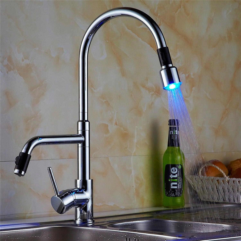 Lalaky Waschtischarmaturen Wasserhahn Waschbecken Spültisch Küchenarmatur Spültischarmatur Spülbecken Mischbatterie Waschtischarmatur Led-Vollkupferchrom Kann Um 360 Grad Gedreht Werden