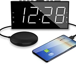 """OnLyee Digital Dual Clock Alarms for Heavy or Deep Sleepers - Vibrating Extra Loud Bed Shaker with 7.5"""" Large & Bright LED..."""