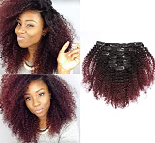 Anrosa Kinkys Curly Clip in Hair Extensions Human Hair 3C 4A 4B Afro Kinky Curly Clip ins Natural Hair Clip ins Afro Kinky Clip ins for Black Women Color Red Brown 1B/99J Thick Big Volume 10 Inch 120g