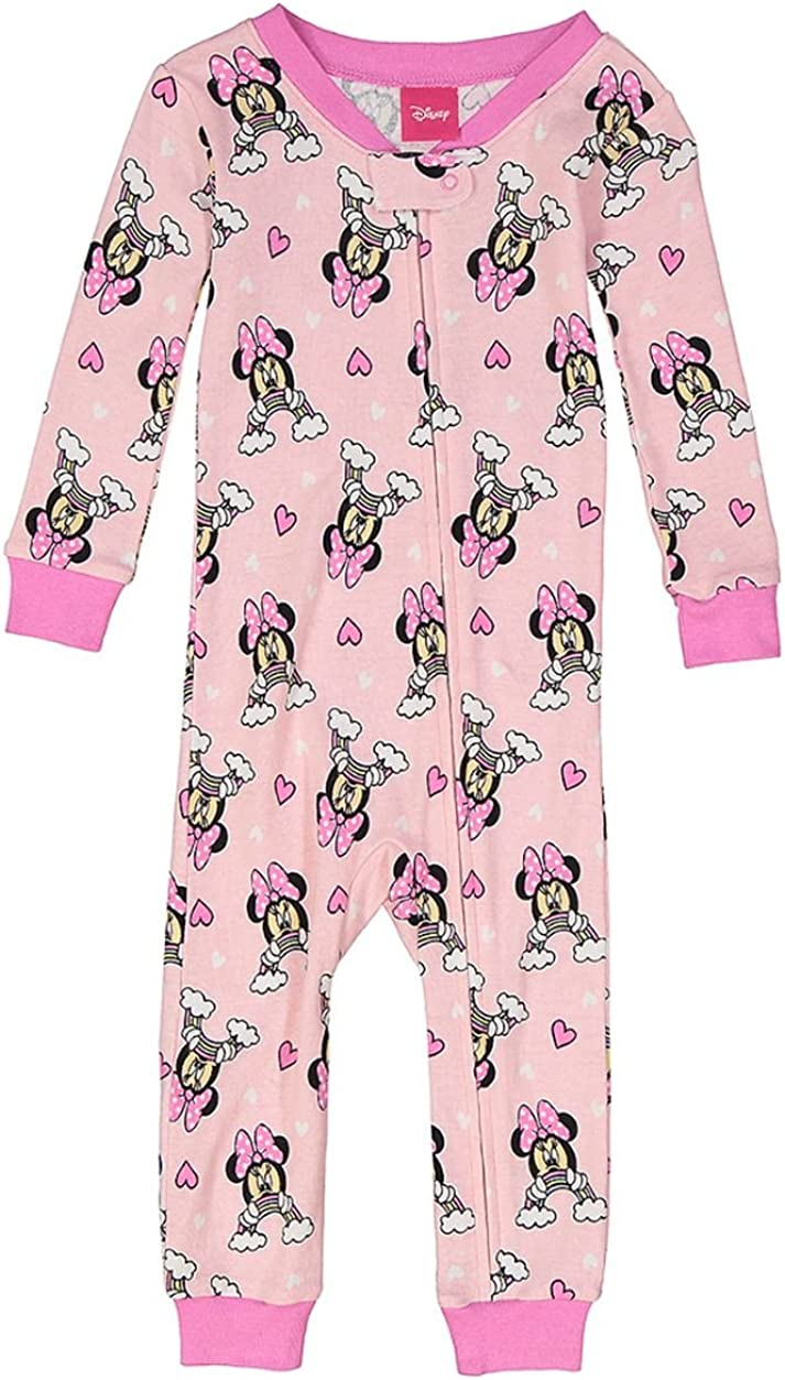 Toddler Girl's Minnie Mouse Rainbow Pink Cotton Pajama Romper