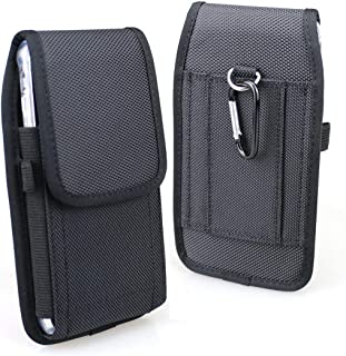 aubaddy Vertical Nylon Belt Holster Pouch Case for iPhone 11 Pro Max, iPhone Xs Max, iPhone 6/6s/7/8 Plus - Fit with a Thin Case (Black)