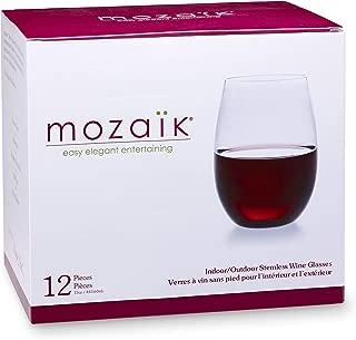 Mozaik Premium Plastic 15 oz. Stemless Wine Glasses, 12 count