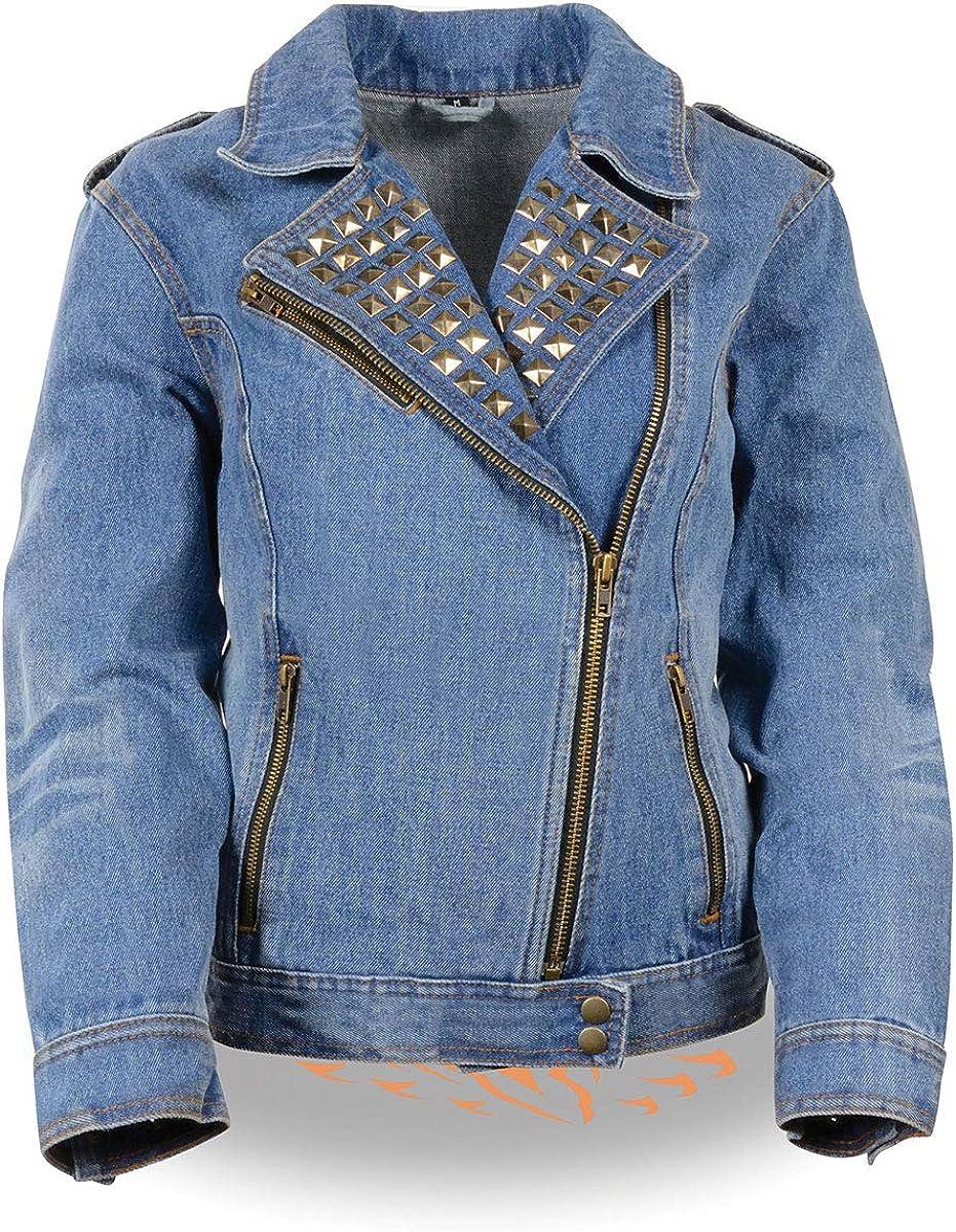 Milwaukee Leather MDL2000 Ladies Black Denim Jacket with Studded Spikes
