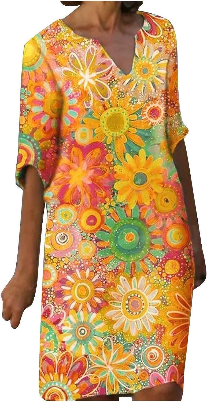 Summer Dresses for Women 2021, Linen Dresses Casual Plus Size Print Knee Length Half Sleeve V Neck Fit Dress