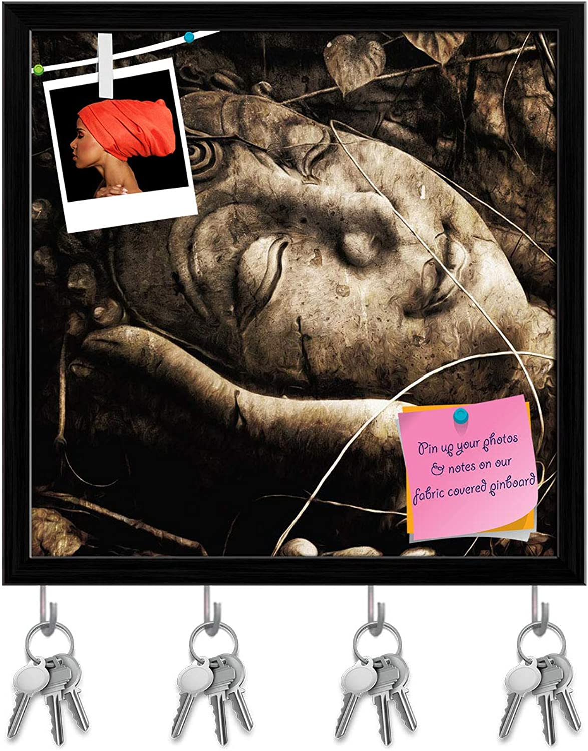 Artzfolio Lord Buddha Face D2 Key Holder Hooks   Notice Pin Board   Black Frame 20 X 20Inch
