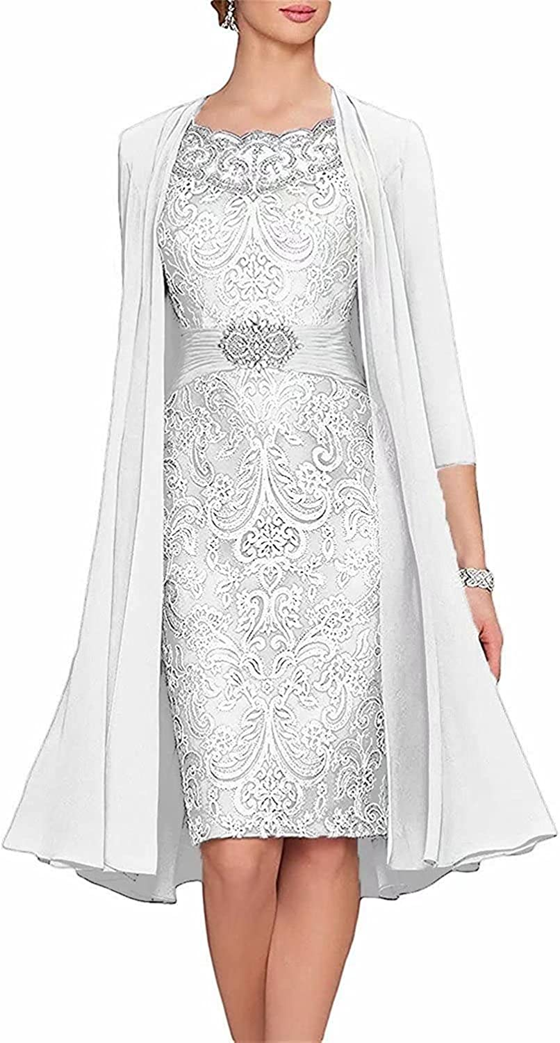 Mother of The Bride Dress with Chiffon Jacket Plus Size Wedding Guest Dresses for Women Formal Dresses with 3/4 Sleeves