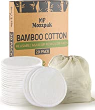 MP Mozzpak (20 Pack) Organic Reusable Makeup Remover Pads | Bamboo Cotton Rounds for Toner with Laundry Bag | Eco-friendly...