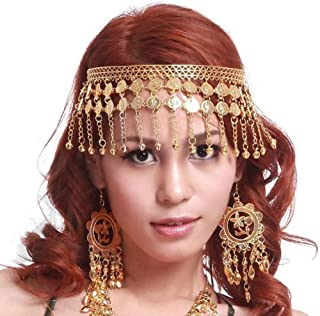 Belly Dance Tribal Gold Coins Headband, Gypsy Jewelry, Gift Idea