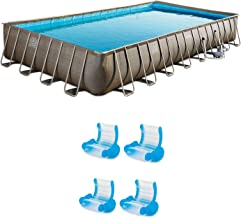 Summer Waves Elite 32ft x 16ft x 52in Pool Set & Inflatable Chair Lounges