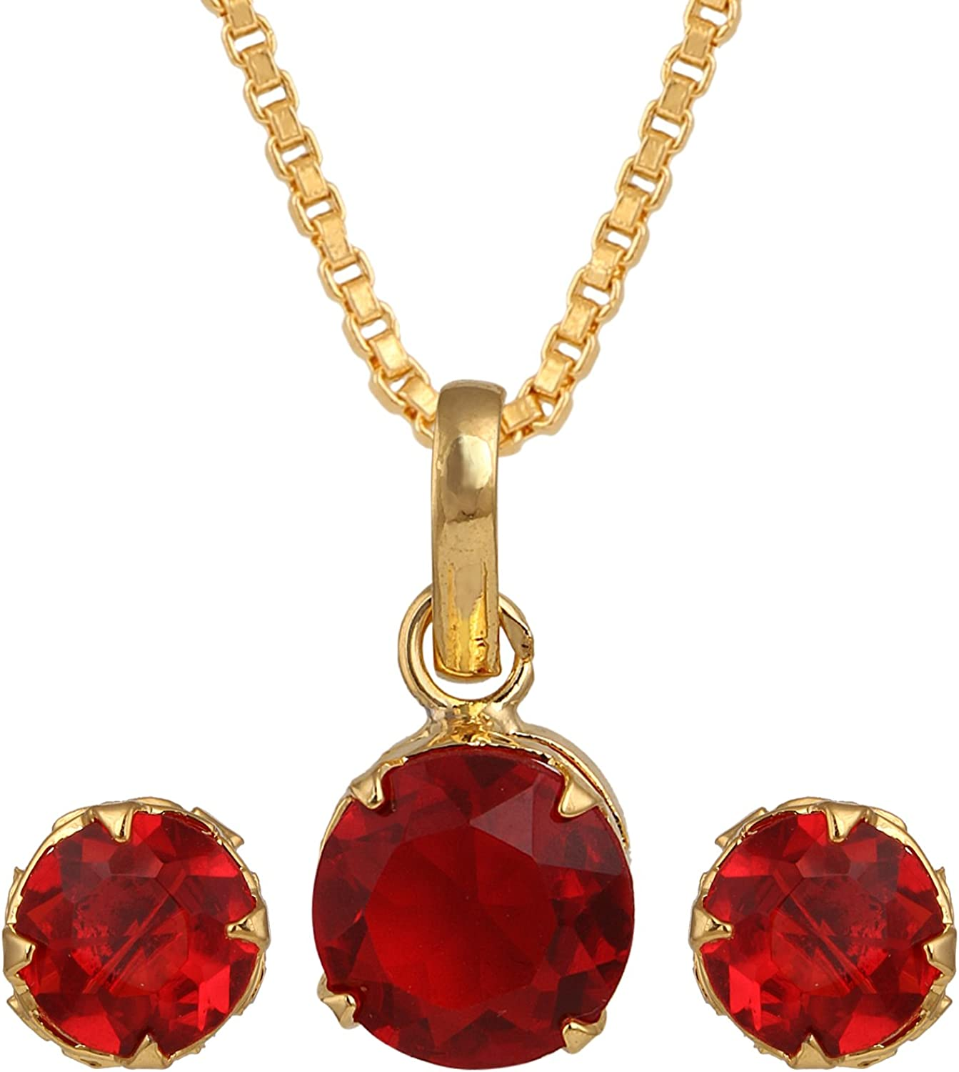 Efulgenz Blood Red Round Cubic Zirconia Pendant Necklace and Earrings Jewelry Set for Women Girls Brides Bridesmaids