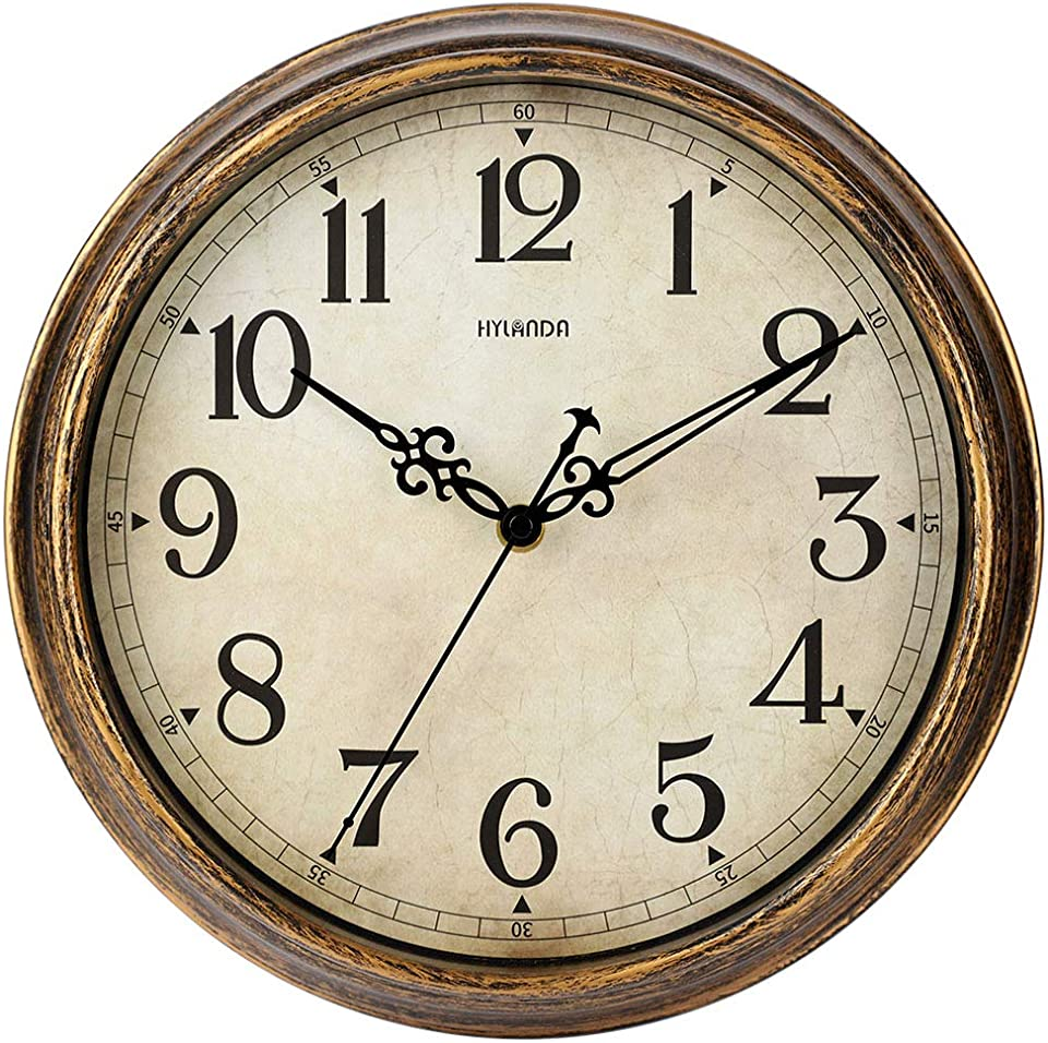 HYLANDA Wall Clock - 12 Inch Vintage Wall Clocks Battery Operated - Retro Silent Non Ticking - Decorative Living Room Home Kitchen School Office(Bronze)