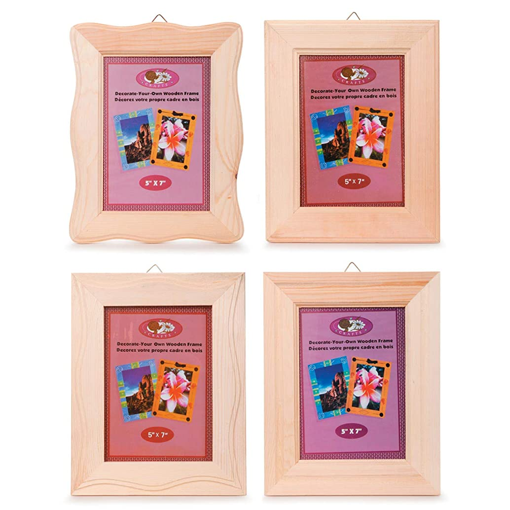 Bulk Buy: Darice DIY Crafts Frame Wood Natural 5 x 7 inches 4 Assorted Styles (12-Pack) 9184-71