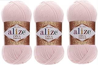 Alize Diva Stretch Thread Crochet Hand Knitting Lot of 3skn 300gr 1314yds 100% Microfiber Acrylic Stretch Bikini Yarn (382)