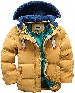 D.IIZOO 子ども ダウンジャケット ダウンコート 中綿コート キッズ 防寒 フード付き アウター 男の子 冬 ボーイズ (イエロー, 120cm)