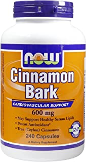 Now Foods Cinnamon Bark, 240 Caps 600 mg (Pack of 4)