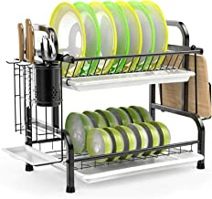 iSPECLE Dish Drying Rack, 304 Stainless Steel 2-Tier Dish Rack with Utensil Holder, Cutting Board Holder and Dish Drainer ...