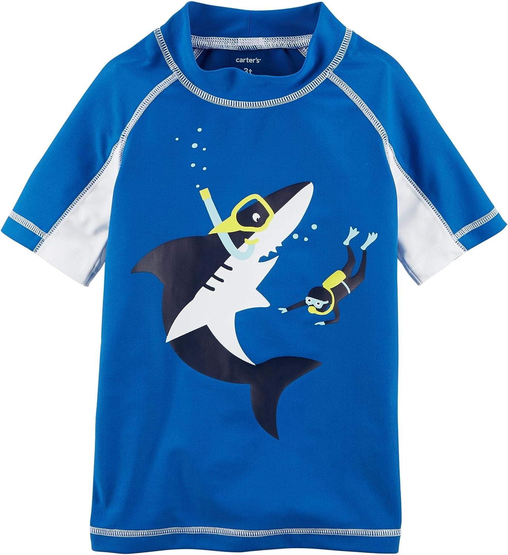 Carter's Boys' UV Shark and Scuba Diver Max 52% OFF Blue SALENEW very popular! Shirt Rash Guard
