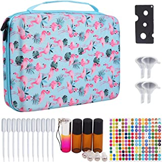 Essential Oils Storage Hold 70 Bottles - Carrying Hard Shell Organizer Case for Artnaturals/Young Living/Radha/Doterra Aromatherapy Essential Oils 5ml, 10ml, 15ml with Foam Insert - Flamingo