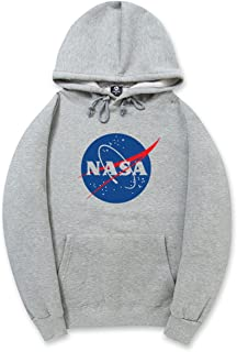 Street Style Fashion Big Front NASA Logo Print Drawstring Hoodie Sweatshirt