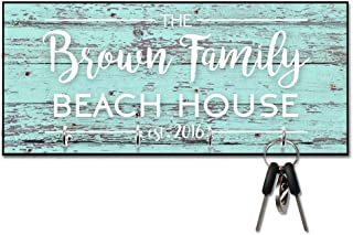 Personalized Mint Rustic Wood Plank Look Beach House Key Hanger