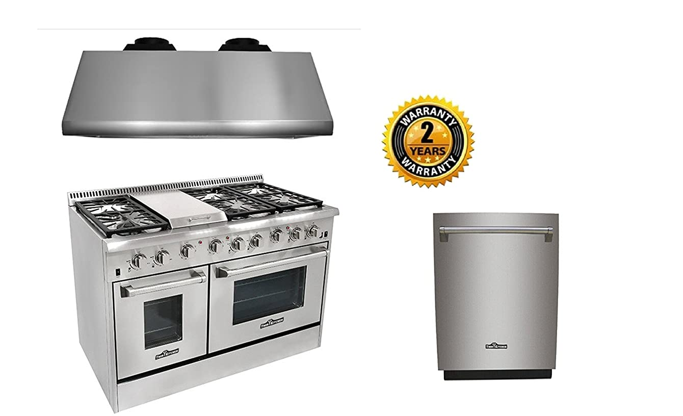Thor Kitchen 48'' 6 Burner Gas Range,1200CFM Range Hood+24'' Built-in Dishwasher