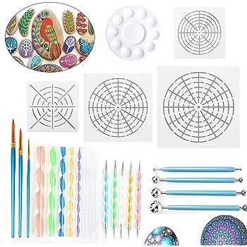 Zeichnen und Zeichnungserstellung Kolorieren Kugelstift f/ür Felsmalerei Farbwanne Mandala-Schablone Hanbaili 19-teiliges Mandala-Punktierwerkzeugset