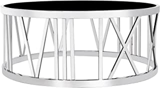 Uptown Club Thea Collection Contemporary Circular Coffee Table With a Steel Base and Smoked Glass Top, Silver/Black