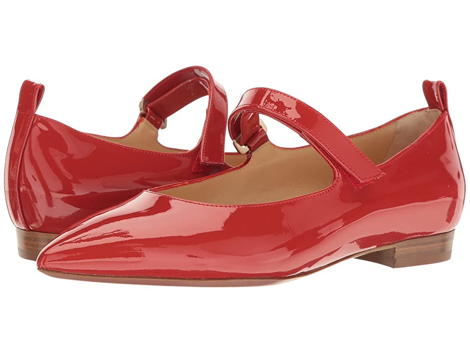 a. testoni Pointed Toe Strapped Flat (Red) Women