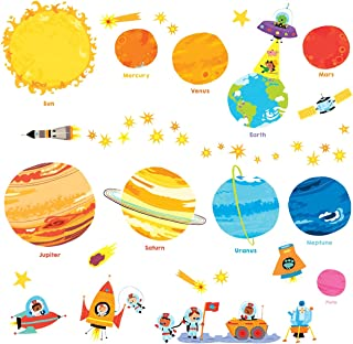 DECOWALL DW-1707N Planets and Space Kids Wall Decals Wall Stickers Peel and Stick Removable Wall Stickers for Kids Nursery Bedroom Living Room