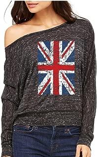 UK Flag England Long-Sleeve Union Jack Vintage United Kingdom Flowy Shirt
