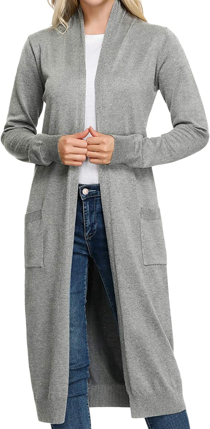 GRACE KARIN Essential Solid Open Front Maxi Long Knitted Cardigan Sweater for Women