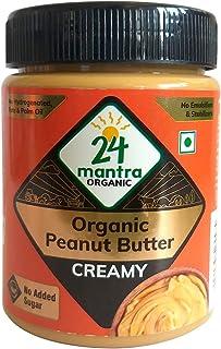 24 Mantra Organic Organic Peanut Butter (Creamy) Bottle, 450 g