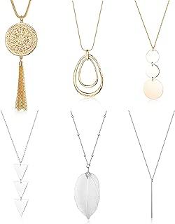 Finrezio 6PCS Long Pendant Necklace Set Tassel Pendant Simple Bar Necklace Strands for Women