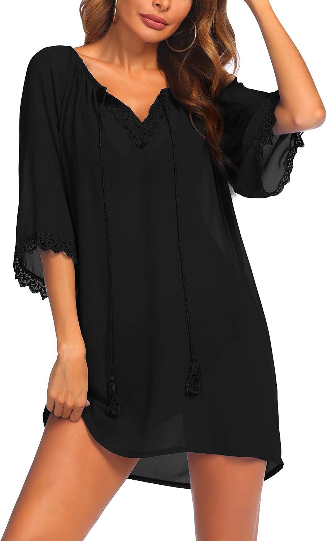 SUNAELIA Women's Cover Ups for Swimwear Beach Coverups Top Chiffon Bathing Suit Beach Dress