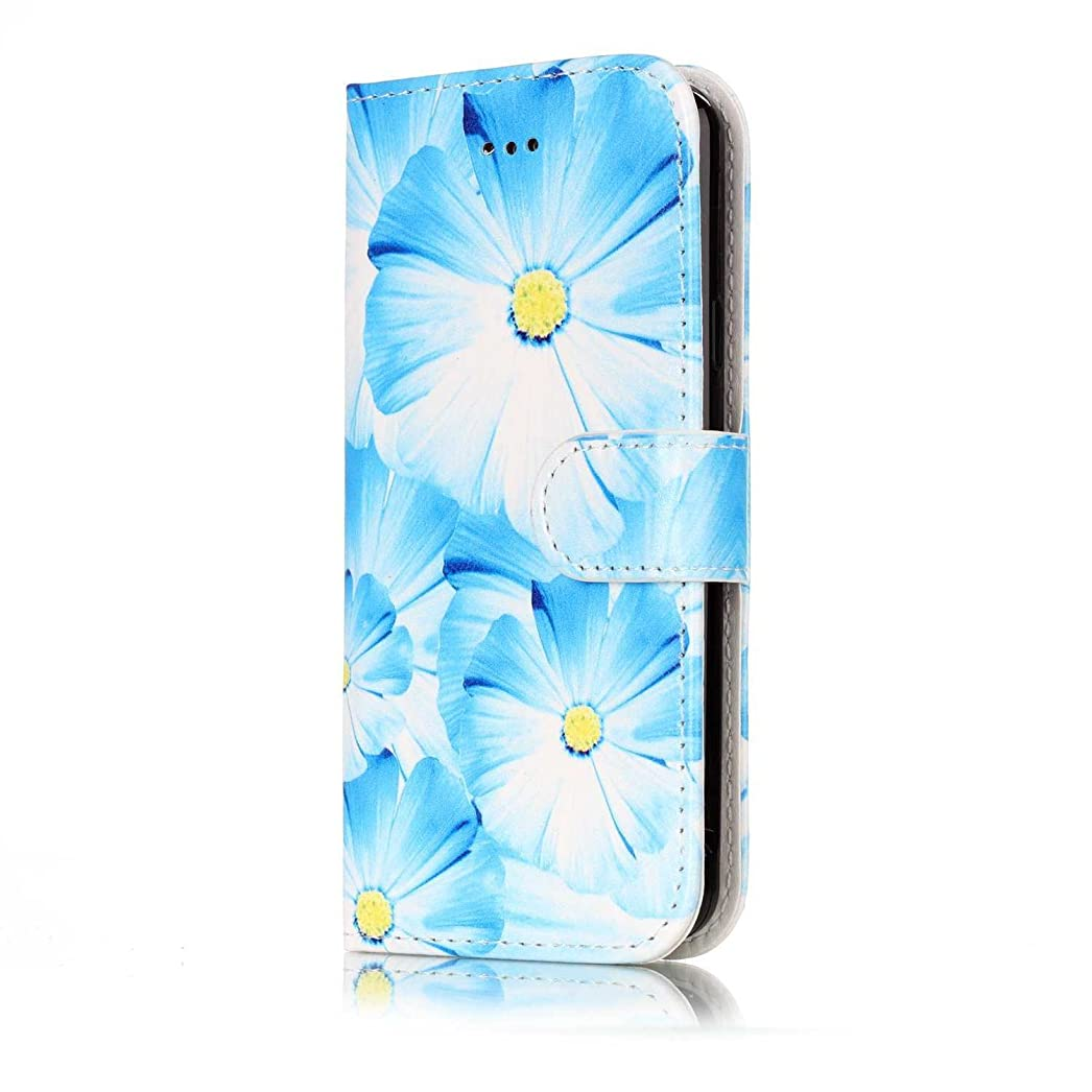 クローン散歩永遠のOMATENTI Galaxy A5 2016 ケース, 簡約風 軽量 良質 PU レザー 財布型 カバー ケース, 人気カバー 衝撃吸収 液晶保護, カード収納 横置きスタンド機能付き マグネット Galaxy A5 2016 用 Case Cover, 青い花