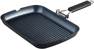 S·KITCHN Grill Pan with Folding Handle, Nonstick Grill Pan for Stove Tops, Induction Compatible KBBQ Grill Pan with Pour S...